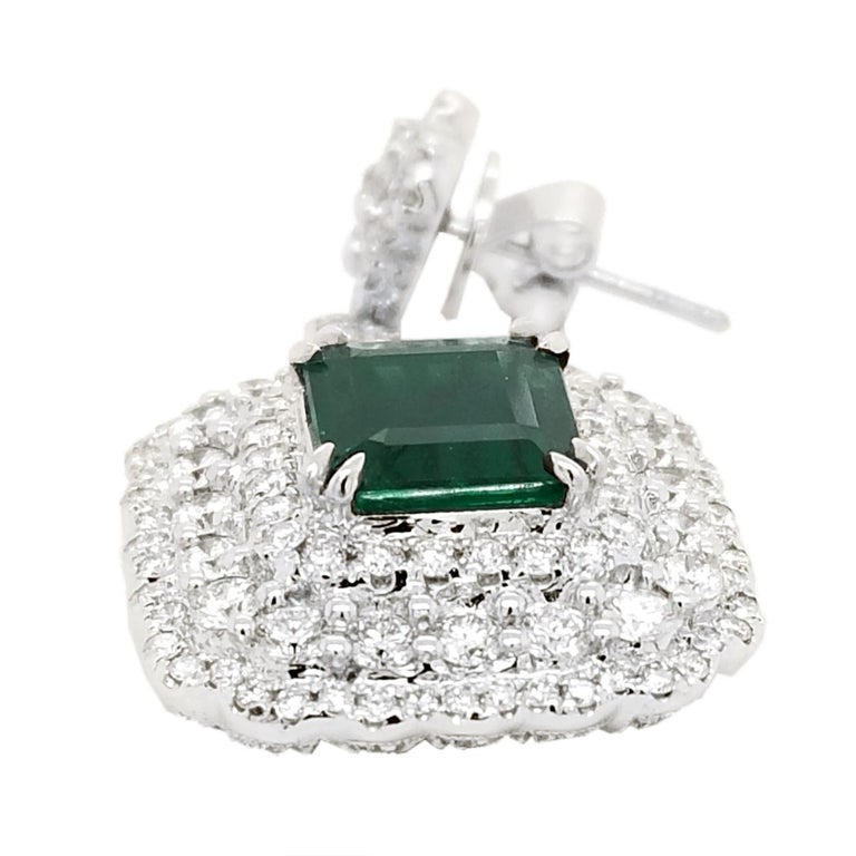 Emerald Cut GIA Certified 5.78 Carat Emerald Earrings in 18 Karat Gold with 3.87 Ct Diamonds For Sale