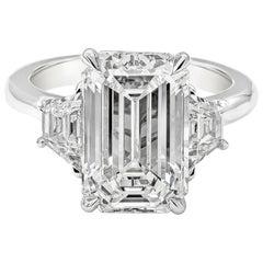 GIA Certified 5.80 Carat Emerald Cut Diamond Three-Stone Engagement Ring