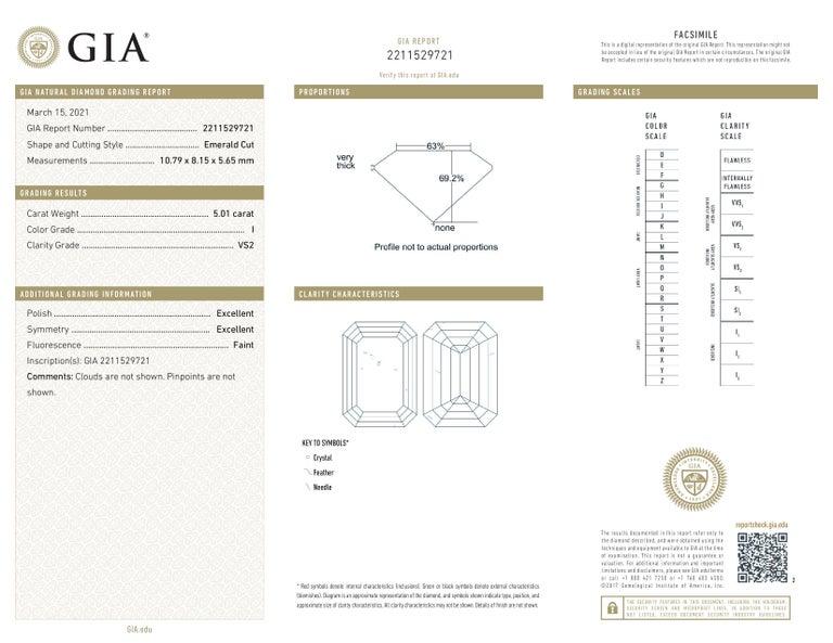 Modern GIA Certified 5.80 Carat Three Stone Emerald Cut Diamond Platinum Ring  For Sale