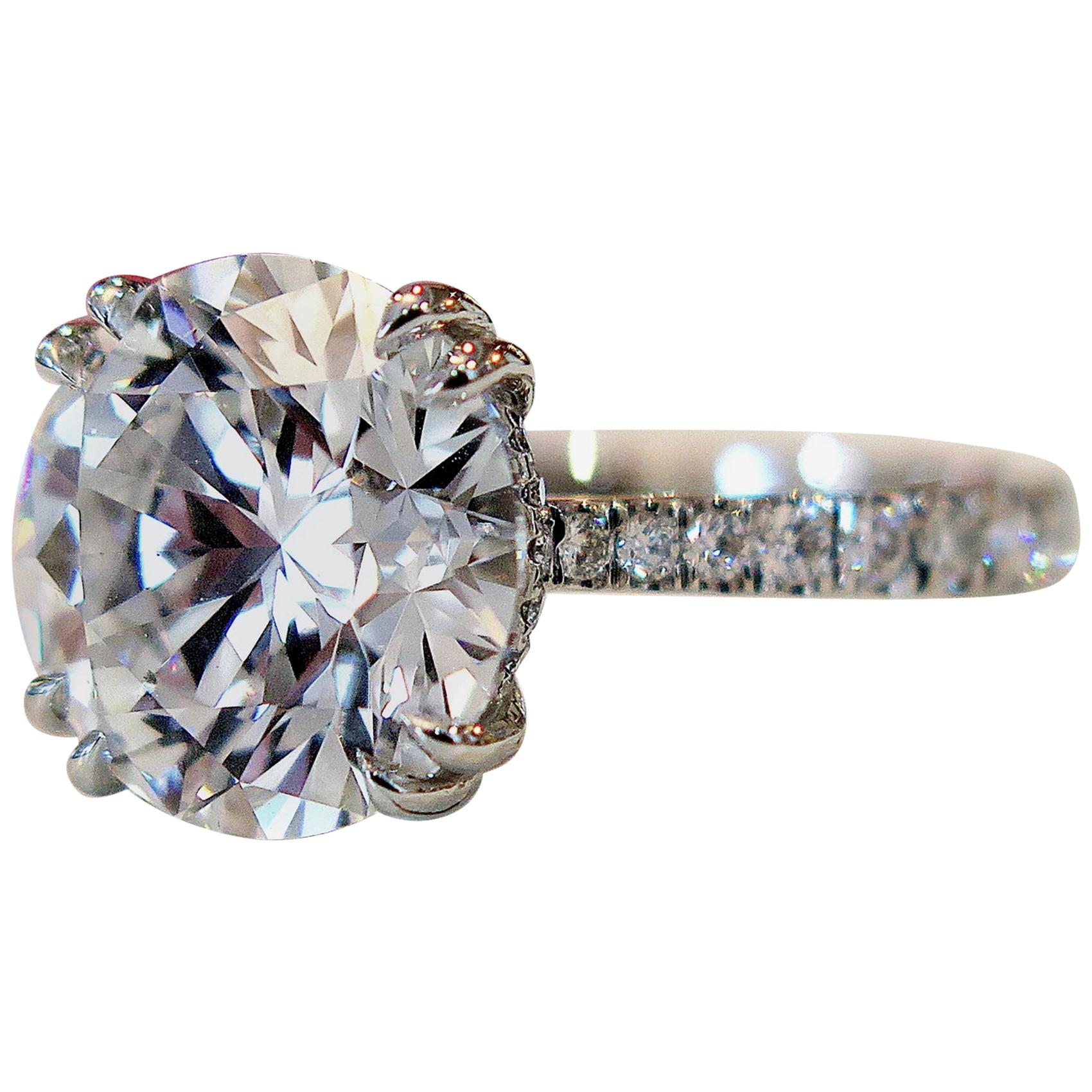 GIA Certified 5.50 J VS2 Carat Round Brilliant Cut Ring Pavè Ring