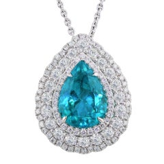 GIA certified 5.86 carat Brazillian Paraiba Tourmaline Necklace set in 18K