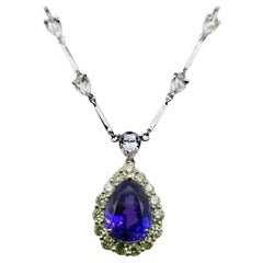 GIA Certified 5.87 Carat Pear Shape Tanzanite Necklace with 5.75 Carat Diamonds