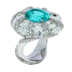 GIA Certified 5.88 Carat Paraiba Tourmaline Diamond White Gold Cocktail Ring