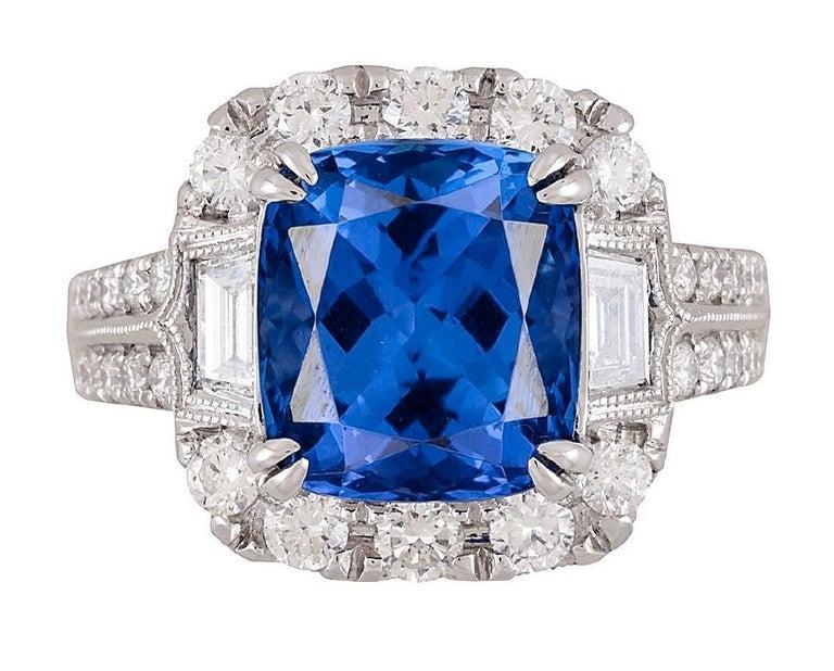 Women's GIA Certified 5.96 Carat Tanzanite and 1.47 Carat Diamond Cocktail Ring For Sale