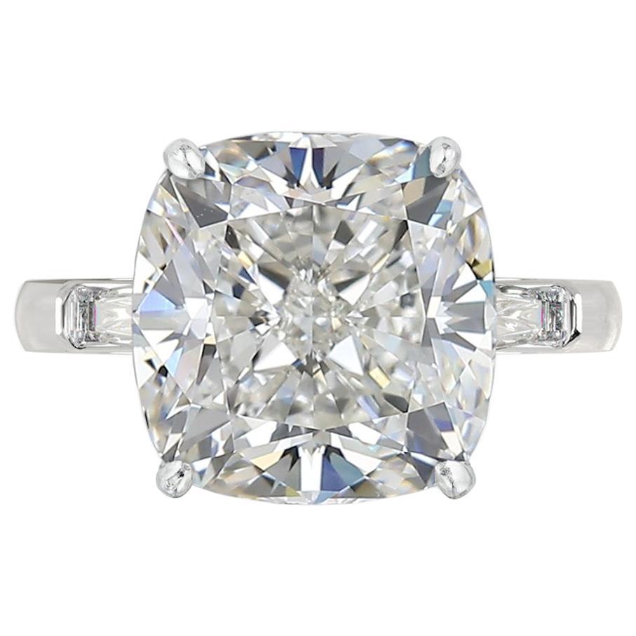GIA Certified 3.50 Carat Brilliant Cut Cushion Diamond Ring