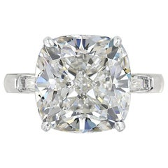 GIA Certified 4 Carat Brilliant Cut Cushion Diamond Ring