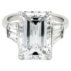 GIA Certified 6 Carat Emerald Cut Diamond and Tapered Baguette Diamond Plat Ring
