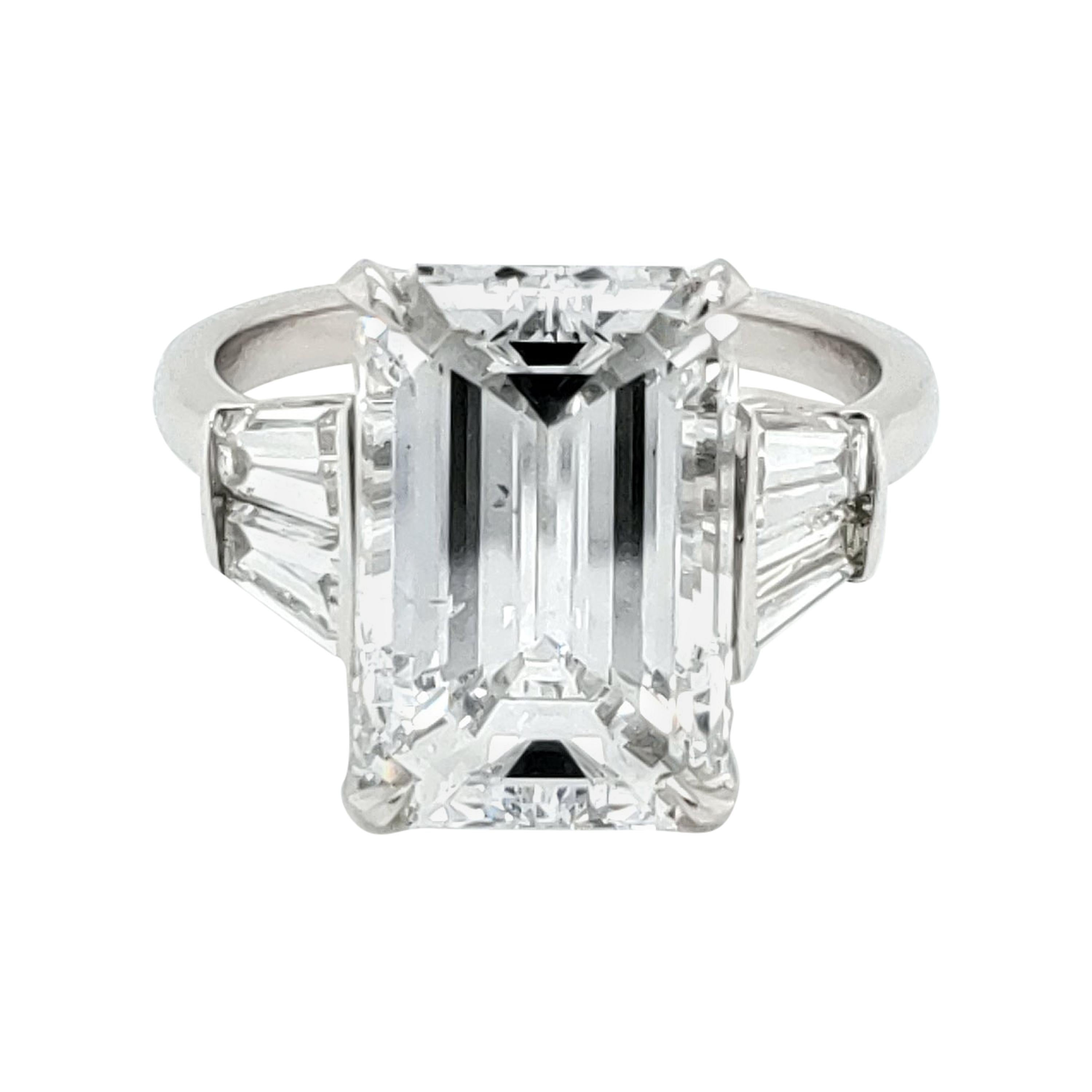Gia Certified 6 Carat Emerald Cut Diamond And Tapered Baguette Diamond Plat Ring For Sale At 1stdibs