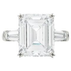 GIA Certified 6 Carat Emerald Cut Diamond Ring