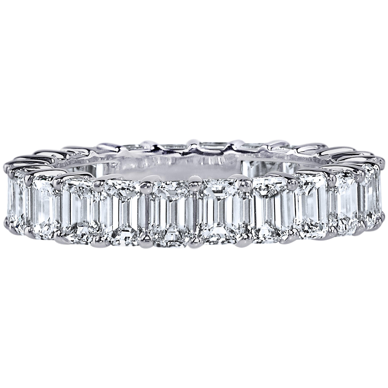 GIA Certified 6 Carat Emerald Cut Diamond Ring Platinum Eternity Band