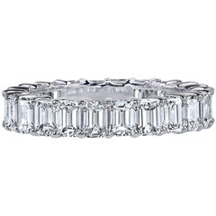 GIA Certified 6 Carat Emerald Cut Diamond Ring Platinum Eternity Band