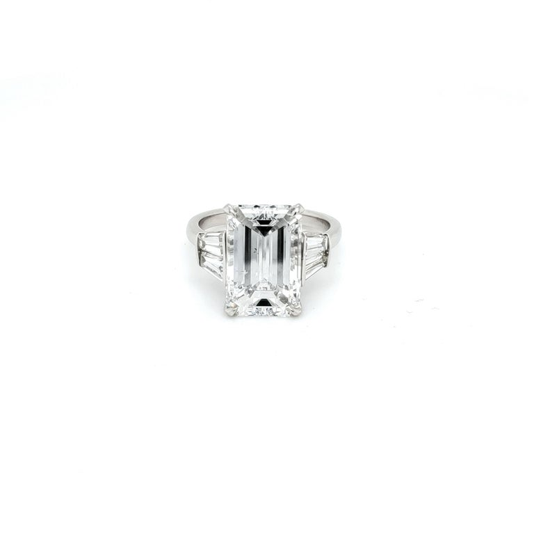GIA Certified 6 Carat Emerald Cut Diamond and Tapered Baguette Diamond Plat Ring In New Condition For Sale In Austin, TX