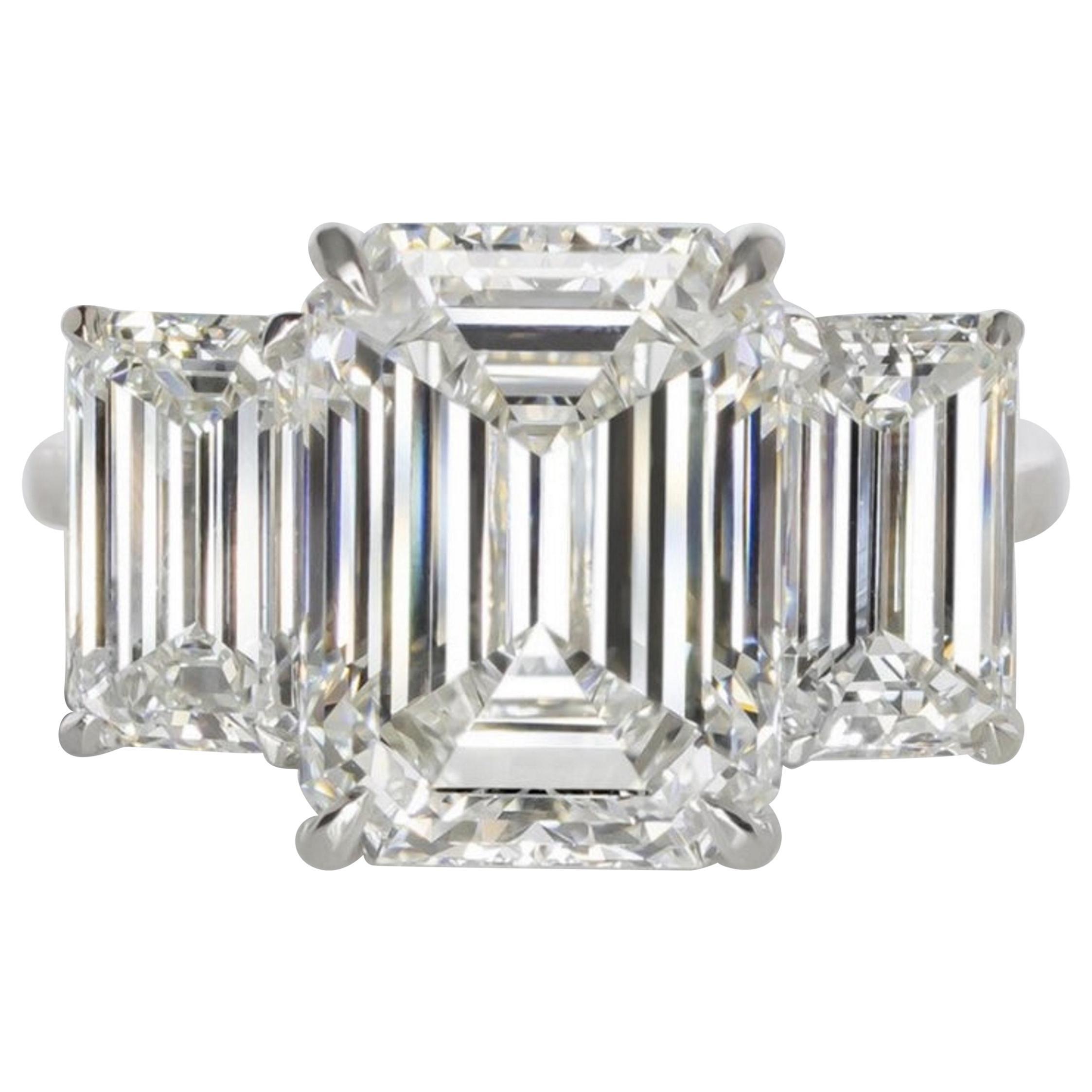 GIA Certified 7 Carat Engagement Three Stone Emerald Cut Diamond Platinum Ring