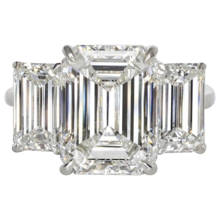 GIA Certified 7 Carat Engagement Three Stone Emerald Cut Diamond Platinum Ring For Sale
