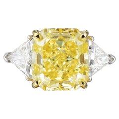 GIA Certified 5.50 Carat Fancy Vivid Yellow Diamond Ring