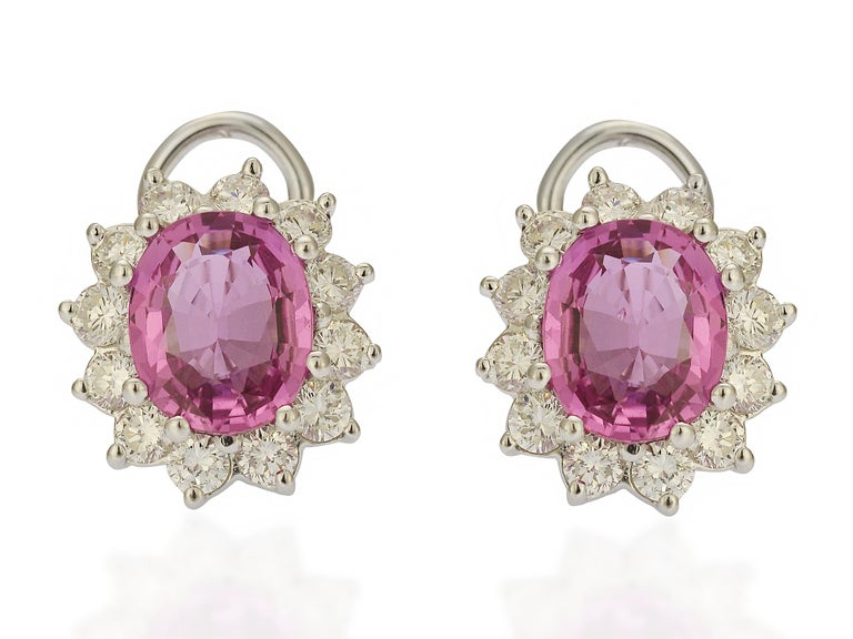 These bright pink oval cut sapphire earrings are a classic design that will never go out of style. The setting is an 18 karat white gold mounting containing over 2 carats of VS clarity & G color diamonds. The closure is a post with hinged Omega