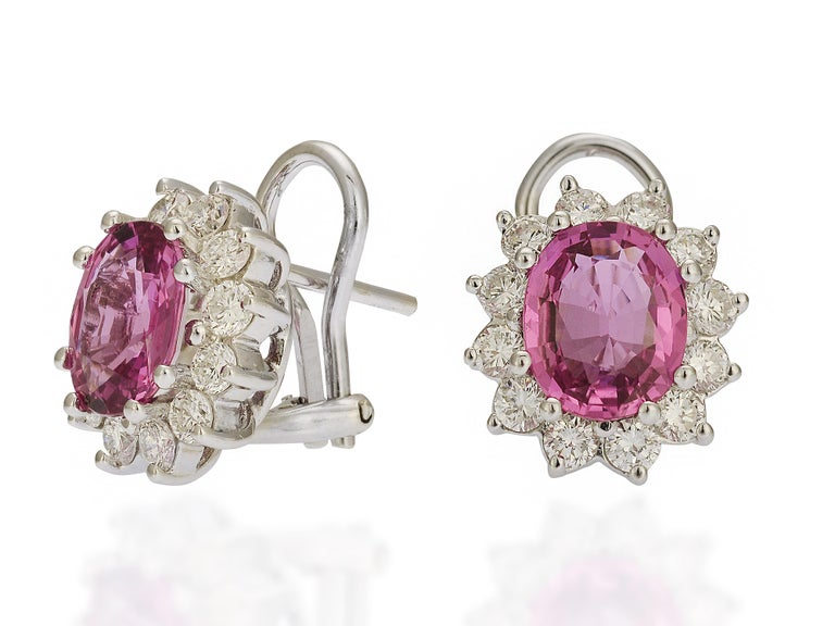 Contemporary GIA Certified 6 Carat Pink Sapphire and Diamond Earrings For Sale