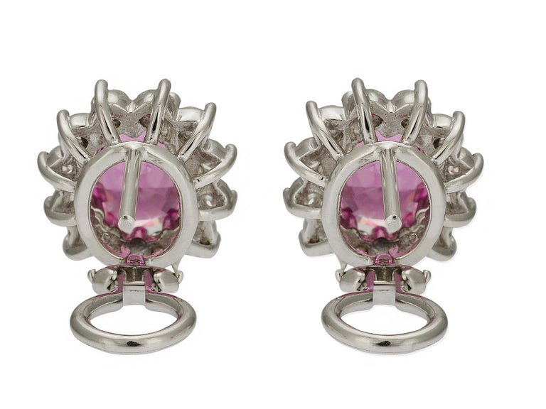 GIA Certified 6 Carat Pink Sapphire and Diamond Earrings In Excellent Condition For Sale In Coral Gables, FL