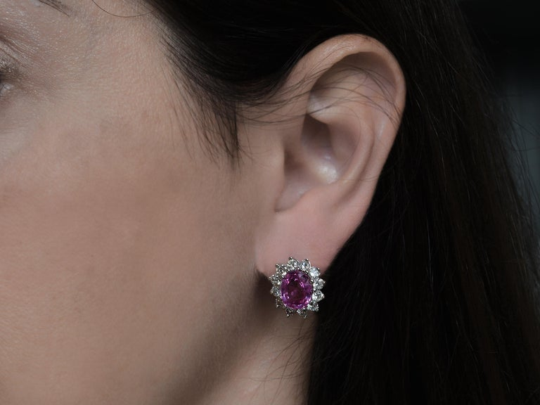 Women's GIA Certified 6 Carat Pink Sapphire and Diamond Earrings For Sale