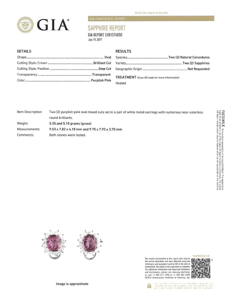 GIA Certified 6 Carat Pink Sapphire and Diamond Earrings For Sale 1