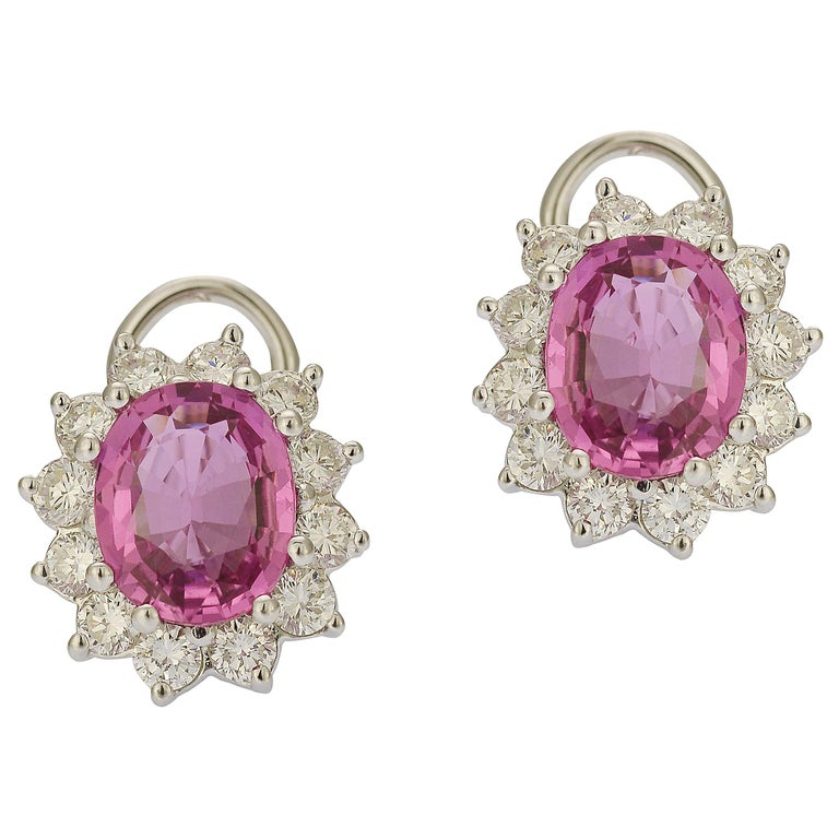 GIA Certified 6 Carat Pink Sapphire and Diamond Earrings For Sale