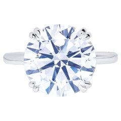 GIA Certified 6 Carat Round Brilliant Cut Diamond Platinum Ring