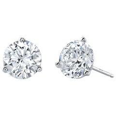 GIA Certified 6 Carat Round Cut Diamond Platinum Stud Earrings