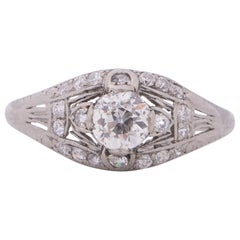 GIA Certified .60 Carat Edwardian Diamond Platinum Engagement Ring