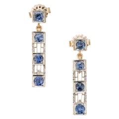 GIA Certified .60 Carat Yogo Gultch Montana Blue Sapphire Two-Tone Gold Earrings