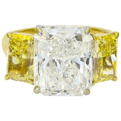 GIA Certified 6.00cts. Radiant Cut and Two Fancy Yellow Radiant Cut Diamond Ring