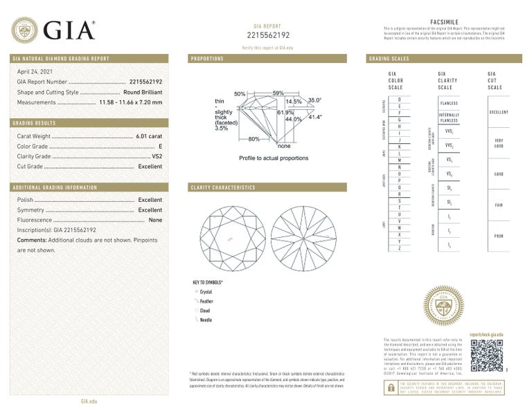Modern GIA Certified 6.01 Carat E Color VS2 Clarity Platinum Ring For Sale