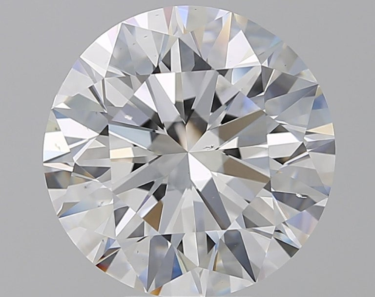 Round Cut GIA Certified 6.01 Carat E Color VS2 Clarity Platinum Ring For Sale