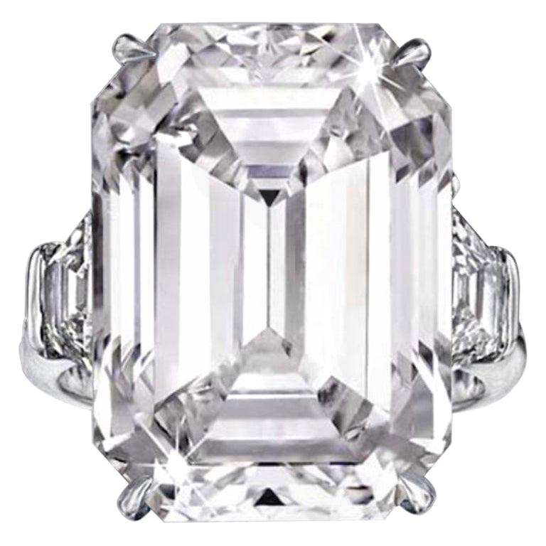 FLAWLESS GIA Certified 4 Carat Emerald Cut Diamond Platinum Ring