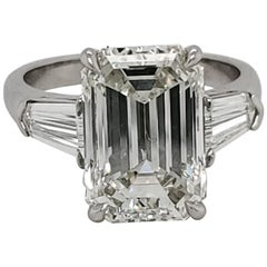 GIA Certified 6.01 Carat Emerald Cut Three-Stone Ring