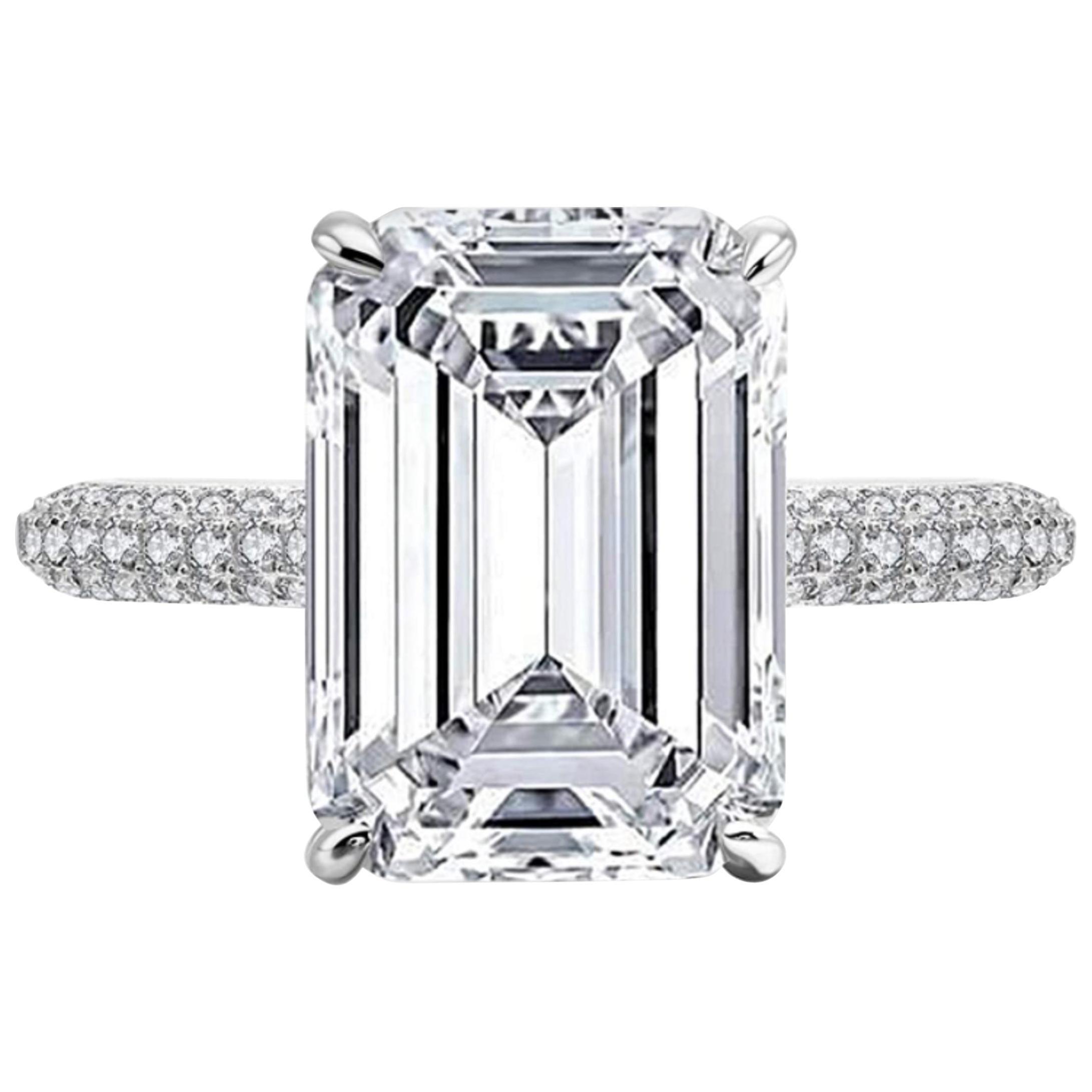 GIA Certified 3.20 Carat Emerald Cut Diamond Ring