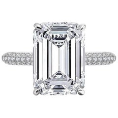 INTERNALLY FLAWLESS F Color GIA Certified 4 Carat Emerald Cut Diamond Ring 3 EX