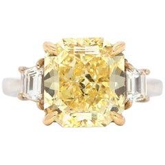 GIA Certified 6.01 Carat Radiant Fancy Intense Yellow Diamond Ring