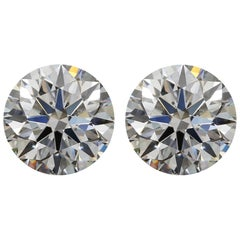GIA Certified 6.01 Carat Round Brilliant Cut Diamond Studs