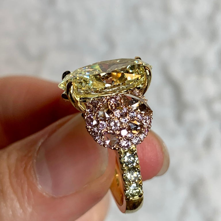 GIA Certified 6.02 Carat Marquise Shape Fancy Yellow Diamond Cocktail Ring For Sale 5