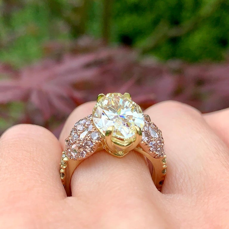 GIA Certified 6.02 Carat Marquise Shape Fancy Yellow Diamond Cocktail Ring For Sale 6