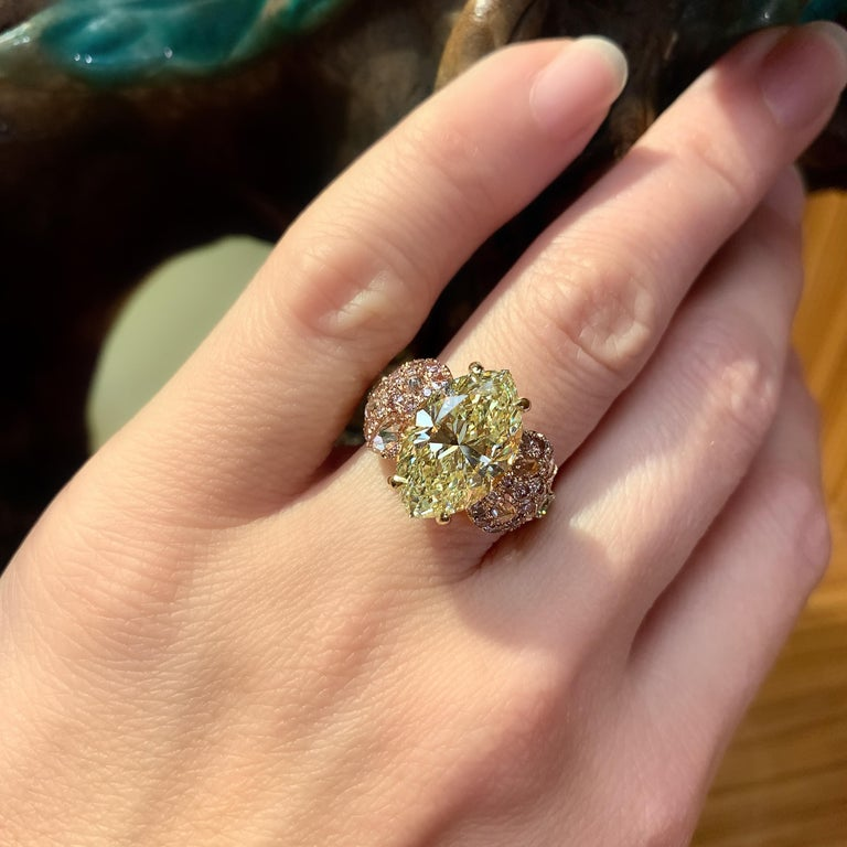 Contemporary GIA Certified 6.02 Carat Marquise Shape Fancy Yellow Diamond Cocktail Ring For Sale