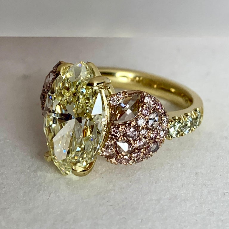 Women's GIA Certified 6.02 Carat Marquise Shape Fancy Yellow Diamond Cocktail Ring For Sale