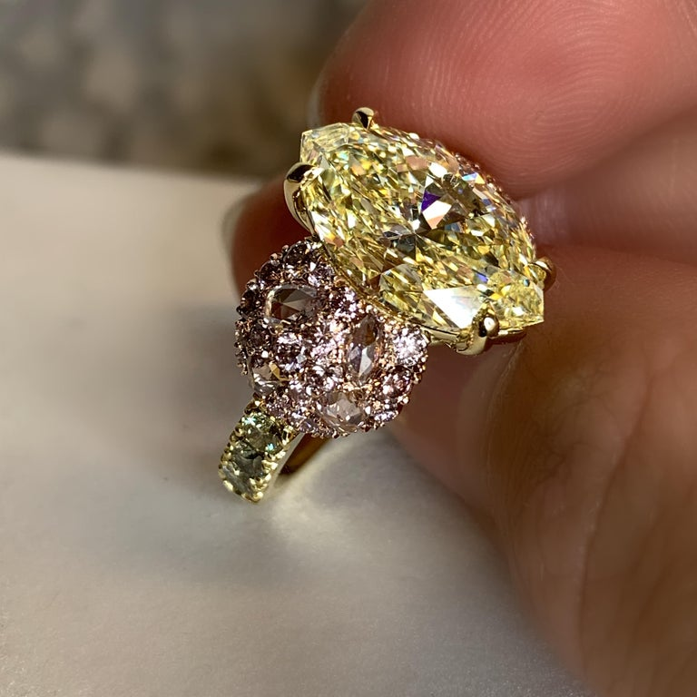 GIA Certified 6.02 Carat Marquise Shape Fancy Yellow Diamond Cocktail Ring For Sale 1