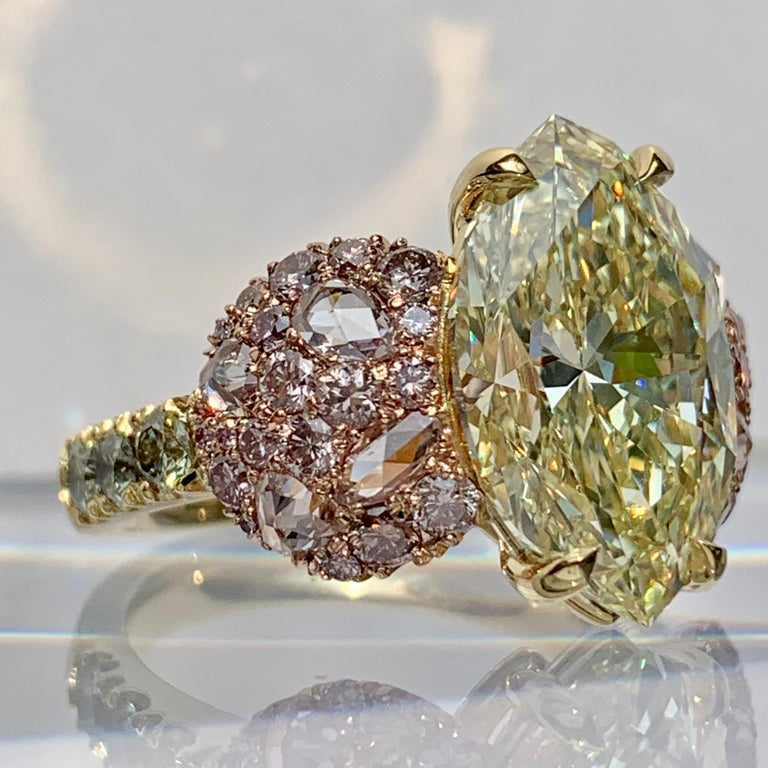 GIA Certified 6.02 Carat Marquise Shape Fancy Yellow Diamond Cocktail Ring For Sale 2