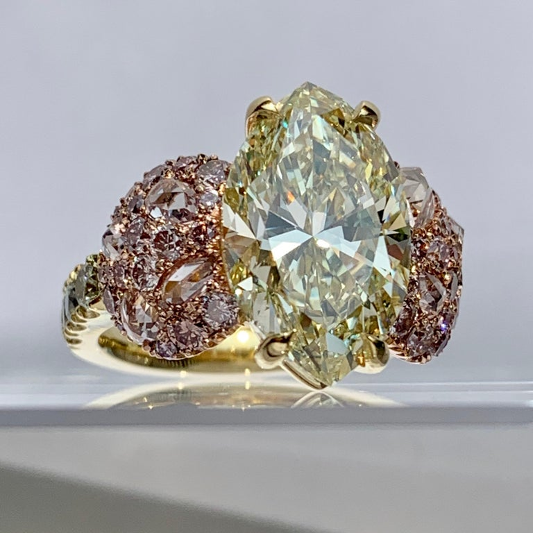 GIA Certified 6.02 Carat Marquise Shape Fancy Yellow Diamond Cocktail Ring For Sale 3