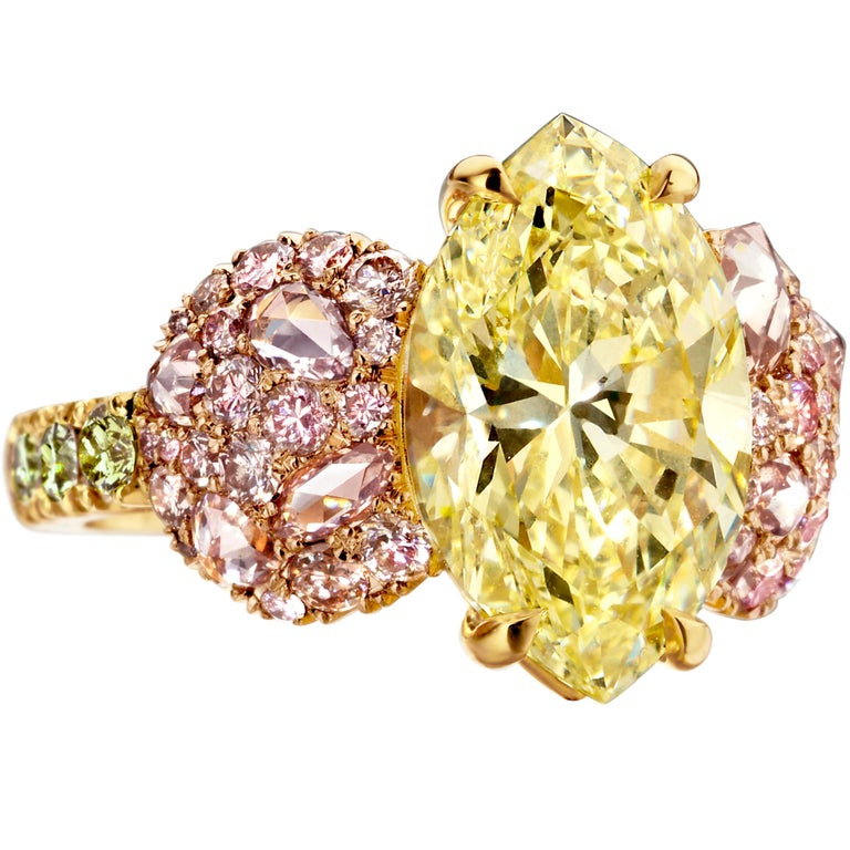 GIA Certified 6.02 Carat Marquise Shape Fancy Yellow Diamond Cocktail Ring For Sale