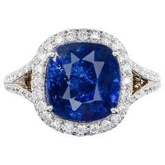 GIA Certified 6.02 Carat Natural Ceylon Blue Sapphire 14 Karat White Gold Ring
