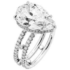 GIA Certified 6.02 Carat Pear Diamond Engagement Platinum Ring