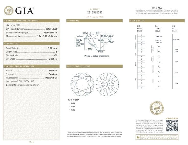 GIA Certified 6.02 Carat VS Clarity E/F Color Round Brilliant Cut Diamonds In New Condition For Sale In Rome, IT