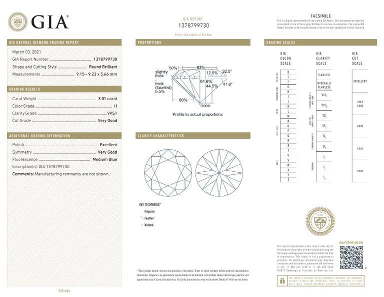 Modern GIA Certified 6.02 Carat VVS1/SI1 Clarity H Color Diamond Studs For Sale